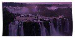 Iguazu Sunset In Violet Beach Sheet