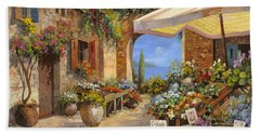 Beach Towel featuring the painting Il Mercato Del Lago by Guido Borelli