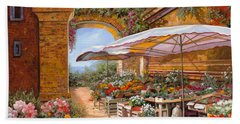 Beach Towel featuring the painting Il Mercato Sotto I Portici by Guido Borelli