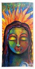 Illuminated By Her Own Radiant Self Beach Sheet by Prerna Poojara