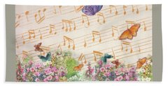 Beach Towel featuring the painting Illustrated Butterfly Garden With Musical Notes by Judith Cheng