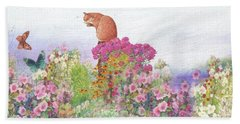 Illustrated Cat In Garden Beach Sheet by Judith Cheng