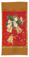 Illustrated Holly, Bells With Birdie Beach Towel