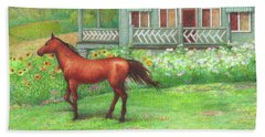Illustrated Horse Summer Garden Beach Towel