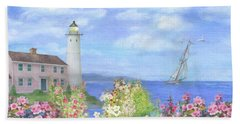 Beach Towel featuring the painting Illustrated Lighthouse By Summer Garden by Judith Cheng