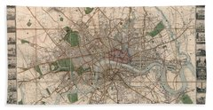 Illustrated Plan Of London And Its Environs - Map Of London - Historic Map - Antique Map Of London Beach Towel