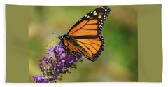 Autumn In The Garden - Monarch And Purple Floret - Nature Photography Beach Towel