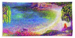 Imagine, Meditating In Beautiful Bay,seascape Beach Towel