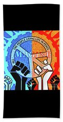 Beach Towel featuring the drawing Imagine Peace Now by Joseph J Stevens