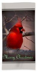 Img_3158-005 - Northern Cardinal Christmas Card Beach Towel