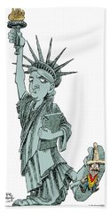 Immigration And Liberty Beach Towel