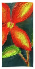 Impasto Red And Yellow Flower Beach Towel