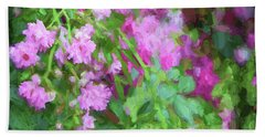 Impasto Roses Beach Sheet by Bonnie Bruno