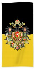 Beach Towel featuring the digital art Habsburg Flag With Imperial Coat Of Arms 1 by Helga Novelli