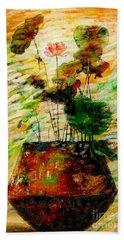 Impression In Lotus Tree Beach Sheet