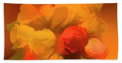 Impressionistic Gold Rose Bouquet Beach Sheet by Linda Phelps