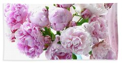 Beach Sheet featuring the photograph Impressionistic Romantic Pink Peonies Watercolor Romantic Floral Decor - Pink Peony Decor by Kathy Fornal