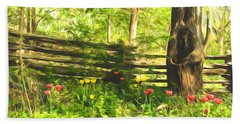 Impressions Of Gardens - Colorful Tulips And A Rustic Fence Beach Towel