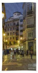 Impressions Of Malaga At Night Beach Towel