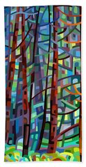 In A Pine Forest Beach Towel by Mandy Budan