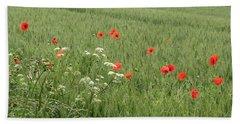 in Flanders Fields the  poppies blow Beach Towel