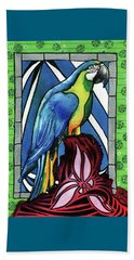 Beach Sheet featuring the painting In Love With A Macaw by Dora Hathazi Mendes