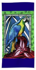 Beach Towel featuring the painting In Love With A Macaw by Dora Hathazi Mendes