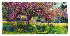 In Love With Spring, Blossom Trees Beach Sheet by Jane Small