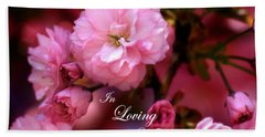 Beach Sheet featuring the photograph In Loving Memory Spring Pink Cherry Blossoms by Shelley Neff
