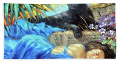 Beach Sheet featuring the painting In One's Sleep by Dmitry Spiros