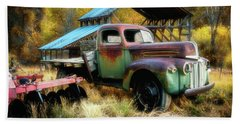 In The Autumn Of Life - 1945 Ford Flatbed Truck Beach Sheet