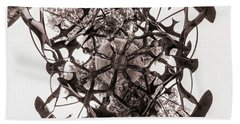 In The Center Of Seven Under Birds Bw - Tiny Planet Beach Towel