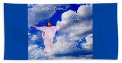 In The End Times Jesus Will Come In The Clouds Beach Towel by Kimberlee Baxter