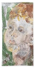 Beach Towel featuring the pastel In The Eyes Of A Child by Norma Duch