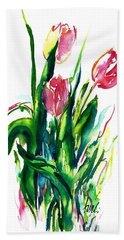 In The Pink Tulips Beach Towel
