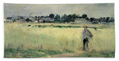 In The Wheatfield At Gennevilliers Beach Towel