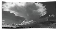Incoming Storm Over Barnegat Bay Bw Beach Sheet by Mary Haber