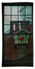 Beach Towel featuring the photograph Independence Hall Through Congressional Window by Jeff Burgess