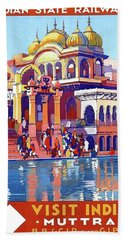India, Indian State Railway Poster, Muttra Beach Towel