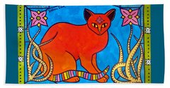 Indian Cat With Lilies Beach Towel