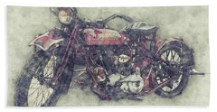 Indian Chief 1 - 1922 - Vintage Motorcycle Poster - Automotive Art Beach Towel