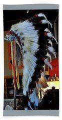 Indian Chief Headdress Beach Towel by Jay Milo