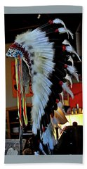 Indian Chief Headdress Beach Sheet by Jay Milo