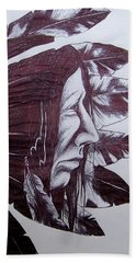 Beach Towel featuring the drawing Indian Feathers by Michael  TMAD Finney