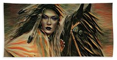 American Indian On Horse Beach Towel