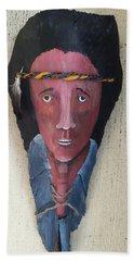 Indian On Palm 2 Beach Sheet by Christine Lathrop