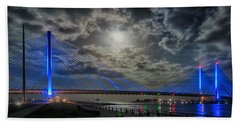 Indian River Bridge Moonlight Panorama Beach Sheet