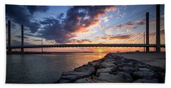 Indian River Inlet And Bay Sunset Beach Towel