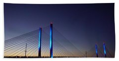 Beach Towel featuring the photograph Indian River Inlet Bridge by Ed Sweeney
