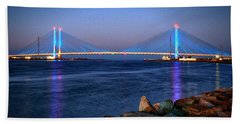 Indian River Inlet Bridge Twilight Beach Towel
